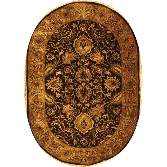Safavieh Handmade Classic Regal Burgundy/ Gold Wool Rug (7'6 x 9'6 Oval)