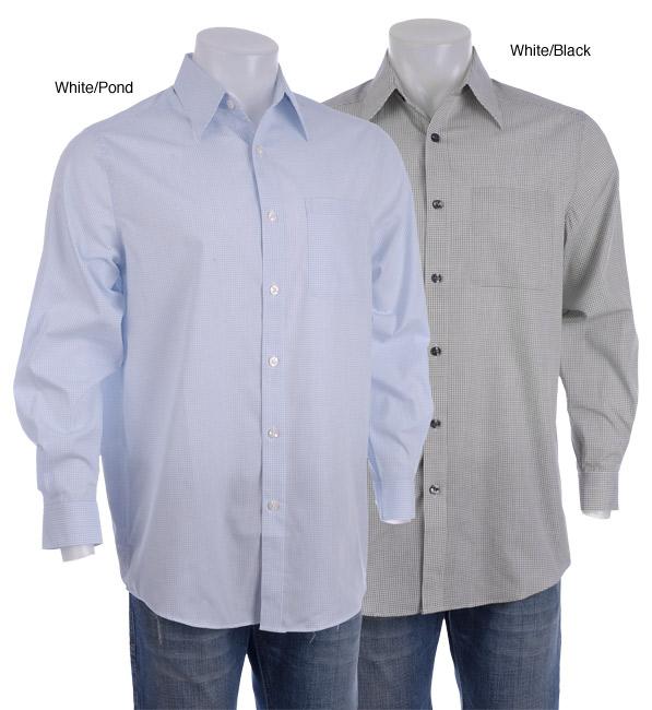 c5088e6b Shop Claiborne Men's Mini Grid Jacquard Long-sleeve Shirt - Free Shipping  On Orders Over $45 - Overstock.com - 3013912