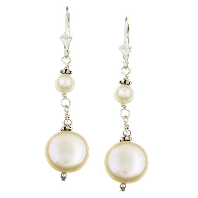 Lola's Jewelry Sterling Silver White Coin Pearl Earrings - Thumbnail 0