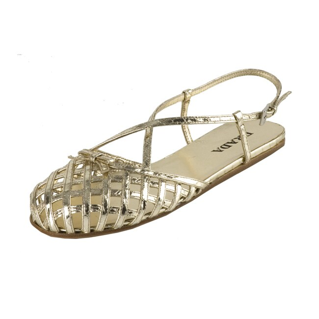 Prada Gold Leather Woven Strap Flat Sandals