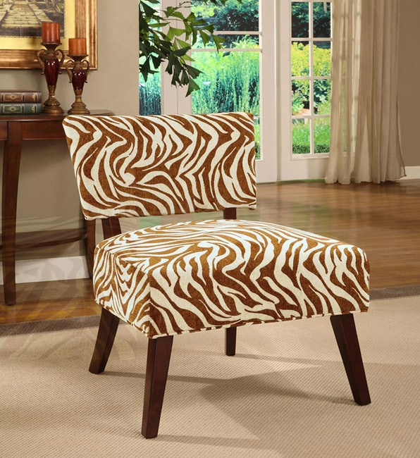 Delicieux Occasional Chair Brown Zebra Print
