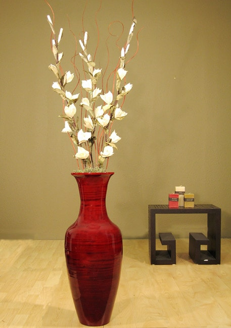 Shop White Gladiolas In Bamboo Floor Vase Free Shipping Today Overstock Com 3016044
