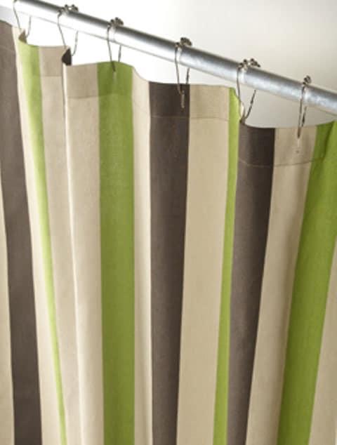 Shop Botanical Stripe Canvas Shower Curtain