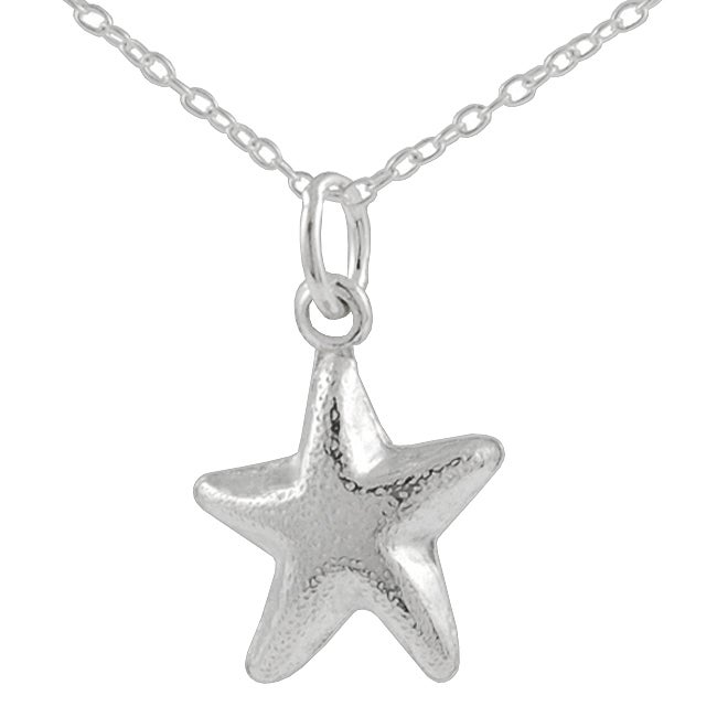 Journee Collection Sterling Silver Puff Starfish Pendant