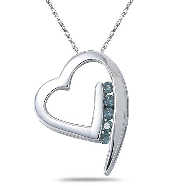 Marquee Jewels 14k White Gold Blue Diamond Heart Necklace