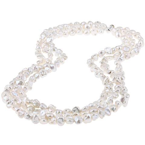 DaVonna Freshwater Keshi Pearl Triple Strand Necklace 20 - White