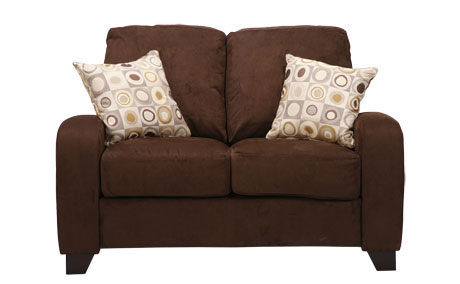Shop Fendor Chocolate Brown Twill Microfiber Loveseat