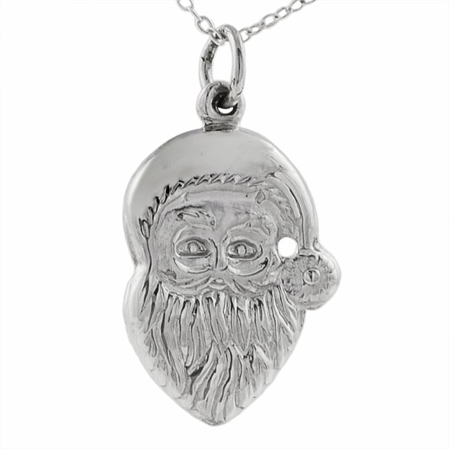 Journee Collection Sterling Silver Santa Claus Necklace