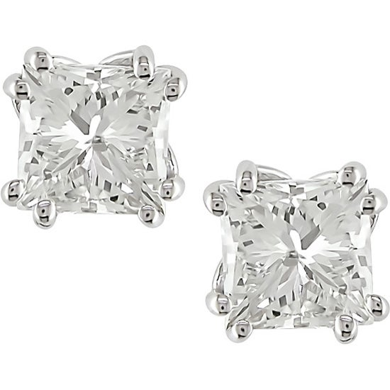 Miadora 18k Gold 2ct TDW Princess-cut Diamond Earrings