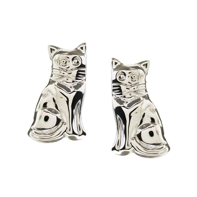 Gioelli 14k White Gold Cat Stud Earrings