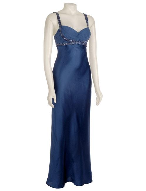 Adrianna Papell Womens Silk Beaded Goddess Dress