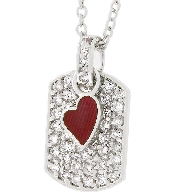 Kate Bissett Silvertone Red Cubic Zirconia Dog Tag Necklace