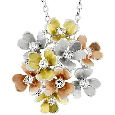 Kate Bissett Silvertone 3D Multicolor Flower CZ Necklace