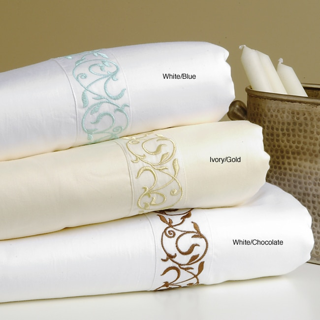 300 TC Scroll Embroidery Cotton Duvet Cover Set