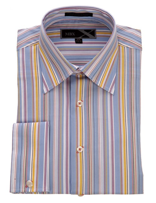 MBX Men's Blue Multicolor Stripe Long-sleeve Shirt