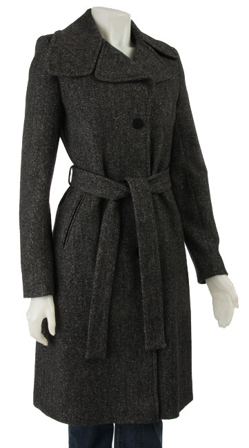 DKNY Women's Wool Boucle Herringbone Coat