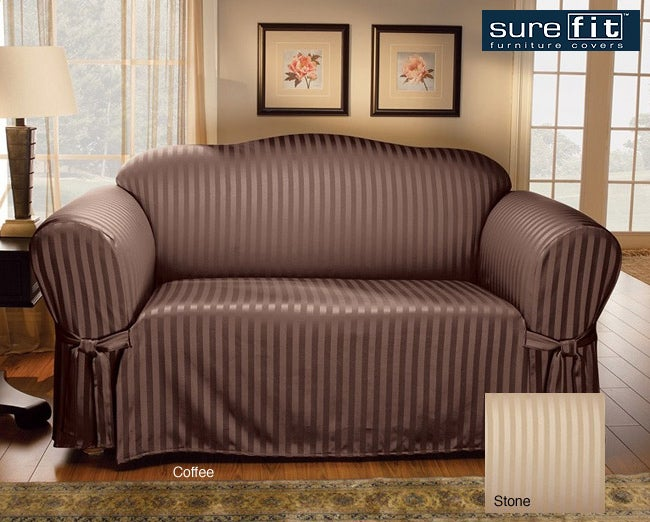 sure fit satin stripe sofa slipcover