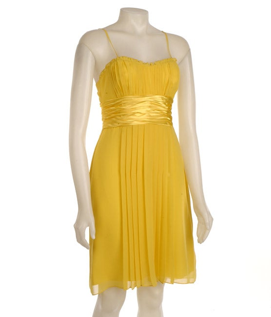 Democracy Women's Yellow Chiffon Pleated Dress