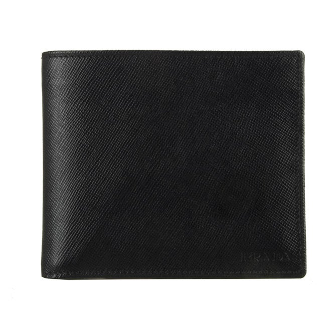 05ddd9627d85c2 Shop Prada Men's Black Saffiano Leather Bi-fold Wallet - Free Shipping  Today - Overstock - 3082179