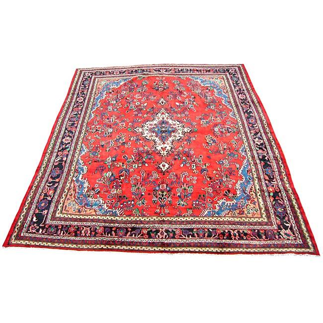 Persian Hamadan Handmade Red Rug (10'9 x 13'8)