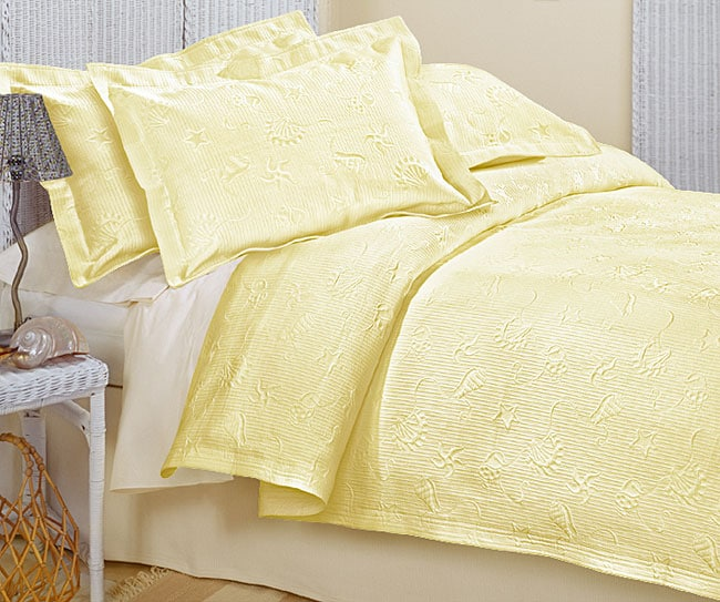 Beach Yellow Matelasse Coverlet Set