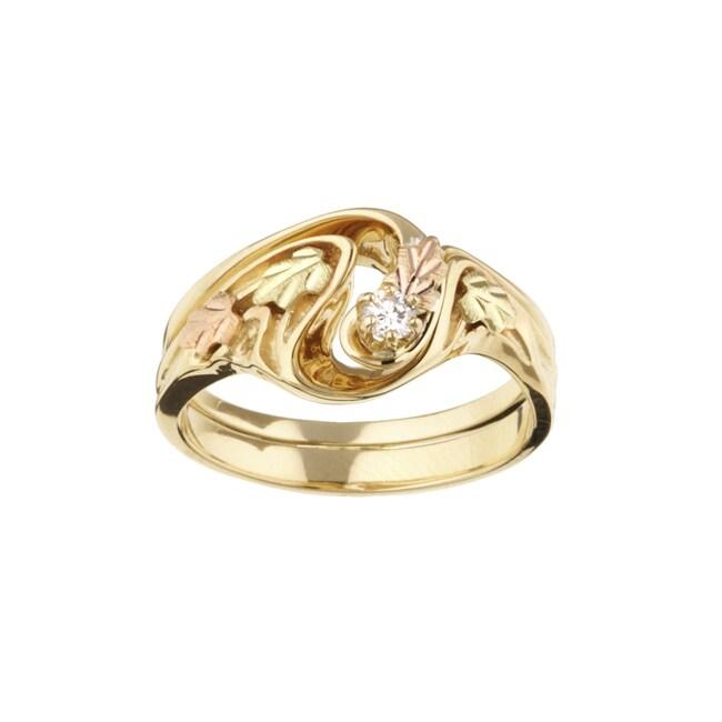 black hills gold 110ct tdw diamond wedding ring set