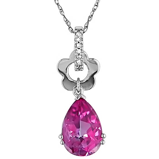10k White Gold Diamond Pink Topaz Necklace