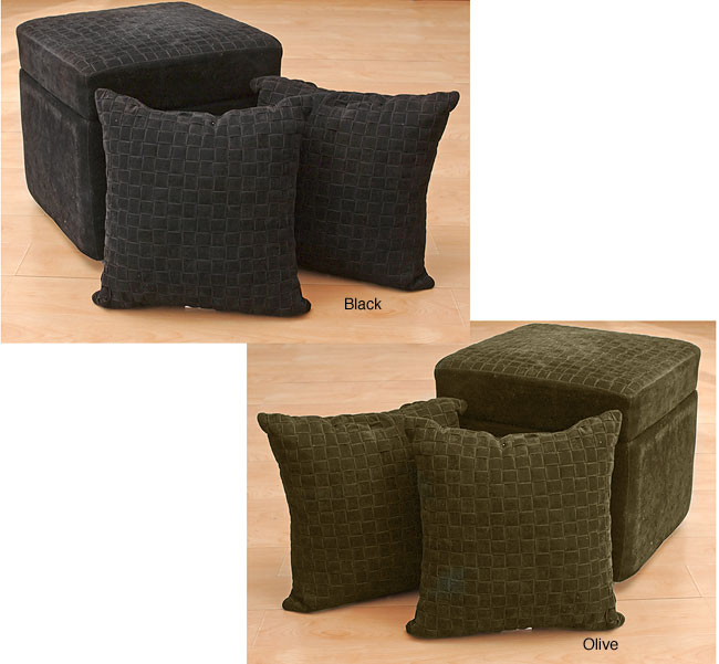 microsuede storage ottoman with two pillows free shipping today