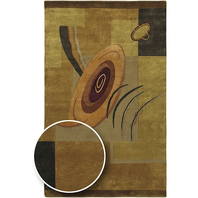 Hand-knotted Brown Contemporary Karur Collection Wool Abstract Area Rug (5' x 8')