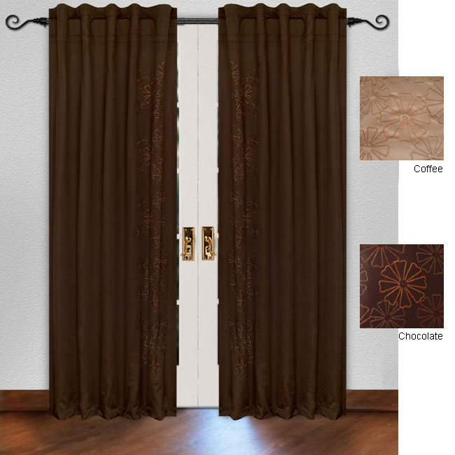 Curtains Ideas 86 inch curtain panels : Embroidered Satin Floral 86-inch Curtain Panel Pair - 11235926 ...