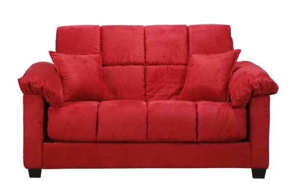 Shop Madras Crimson Red Microfiber Futon Loveseat Free