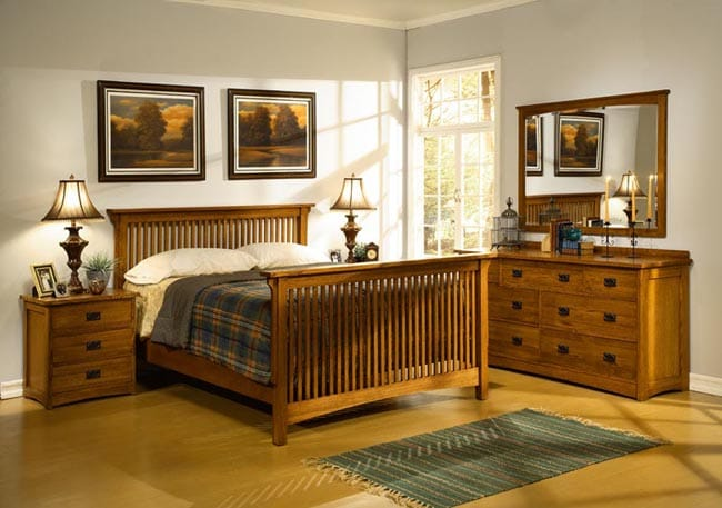 Mission Solid Oak 5 Piece Queen Spindle Bedroom Set Free Shipping Today 11243775