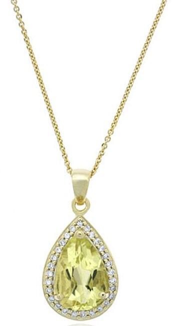 Glitzy Rocks 18k Gold over Silver Lime Quartz Teardrop Necklace