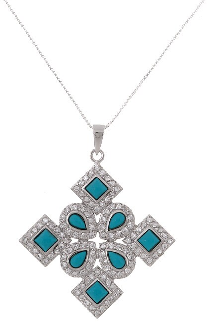 ICZ Stonez Sterling Silver CZ Turquoise ICZ Stonez Sterling Silver  Pendant