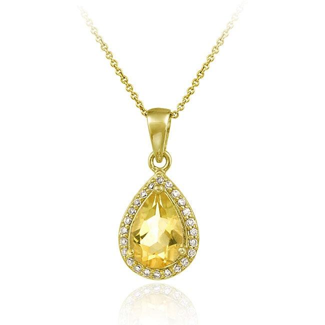 Glitzy Rocks 18k Gold Overlay Citrine and CZ Teardrop Necklace