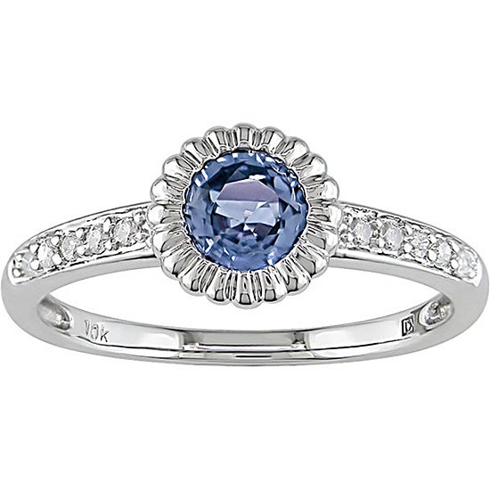 10k Gold Light Blue Sapphire and 1/10ct TDW Diamond Ring