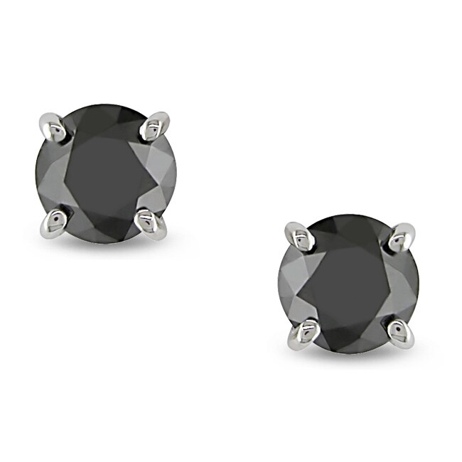 Miadora 14k White Gold 1ct TDW Black Diamond Stud Earrings