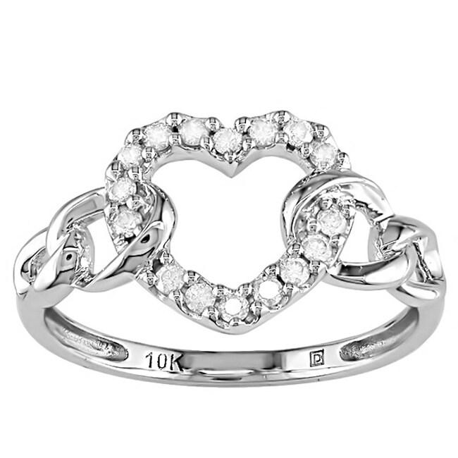 10k White Gold 1/5ct TDW Diamond Heart Ring
