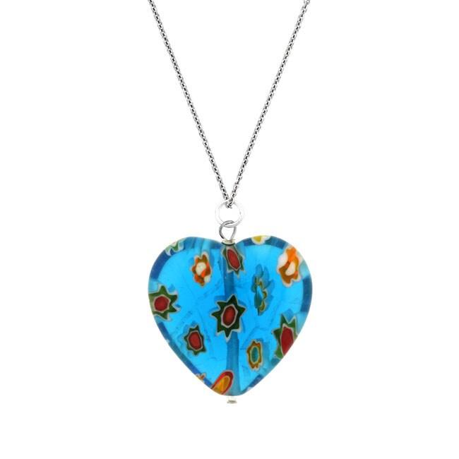 Glitzy Rocks Sterling Silver Light Blue Venetian Glass Heart Necklace