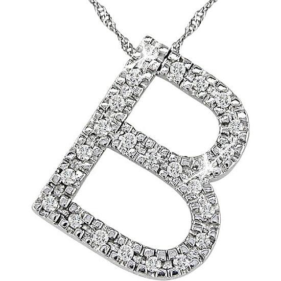 14k White Gold 1/10ct TDW Diamond 'B' Necklace