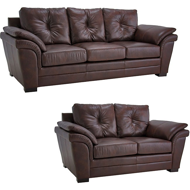 Pillows Leather Sofa: Brown Pillow Top Arm Leather Sofa And Loveseat Set