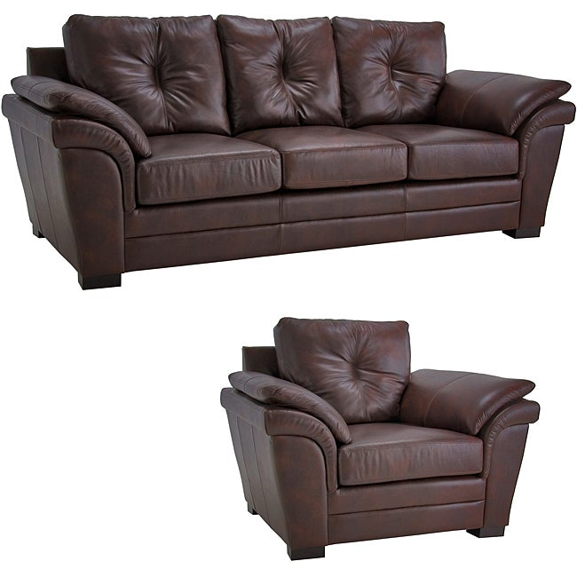 Shop Brown Pillow Top Arm Leather Sofa And Chair Set Free Shipping