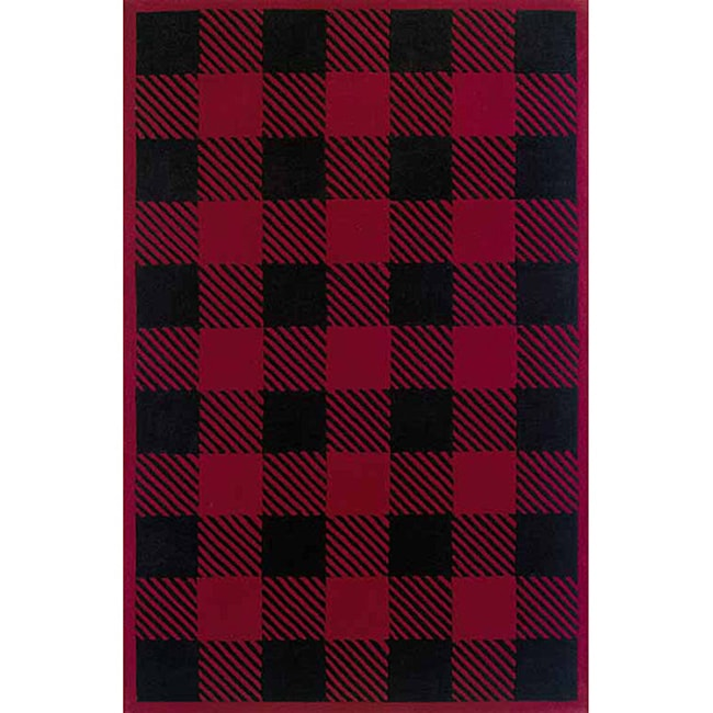 Woolrich Red Black Buffalo Check Wool Rug 3 X27