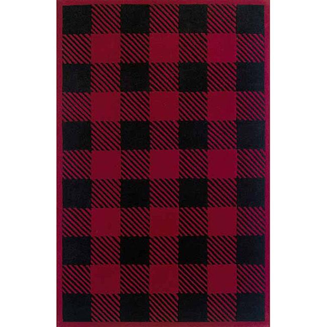 Woolrich Red/ Black Buffalo Check Wool Rug (3'6 x 5'6)