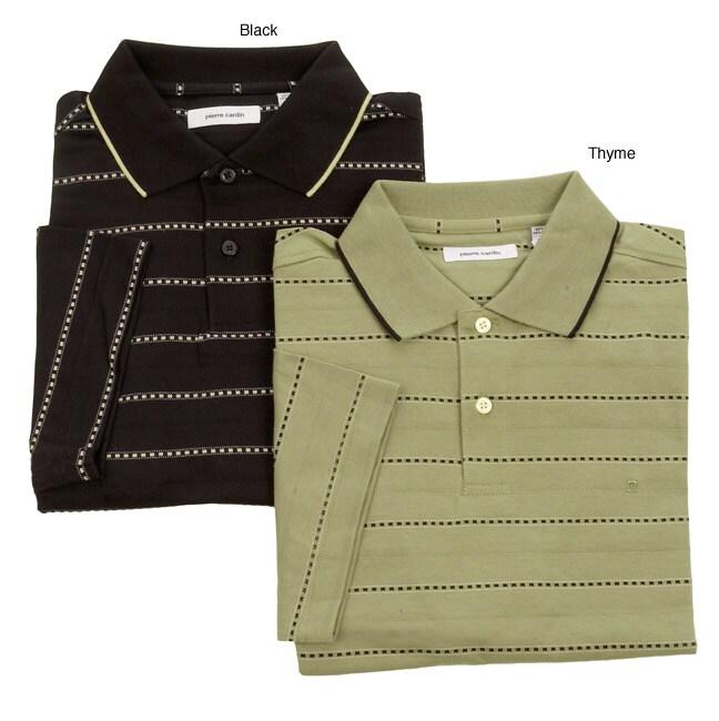 Pierre Cardin Men's Jacquard Striped Knit Polo Shirt