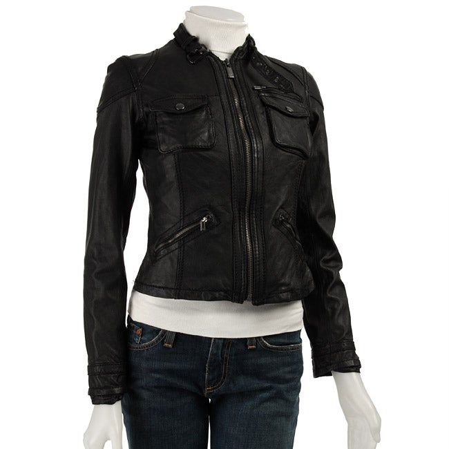 d1890bffc1cc Shop MICHAEL Michael Kors Women s Leather Motorcycle Jacket - Free Shipping  Today - Overstock.com - 3142719