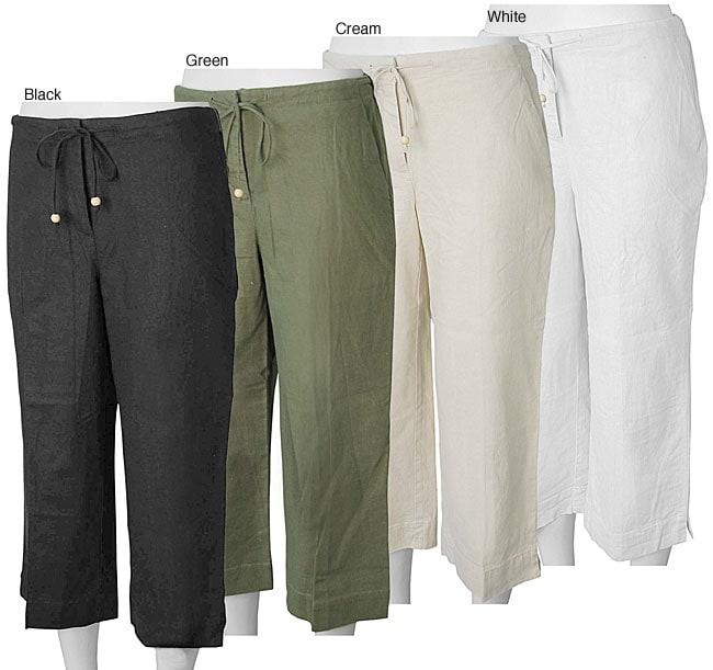 Liz Claiborne Essentials Women's Linen Capris - Free Shipping On ...