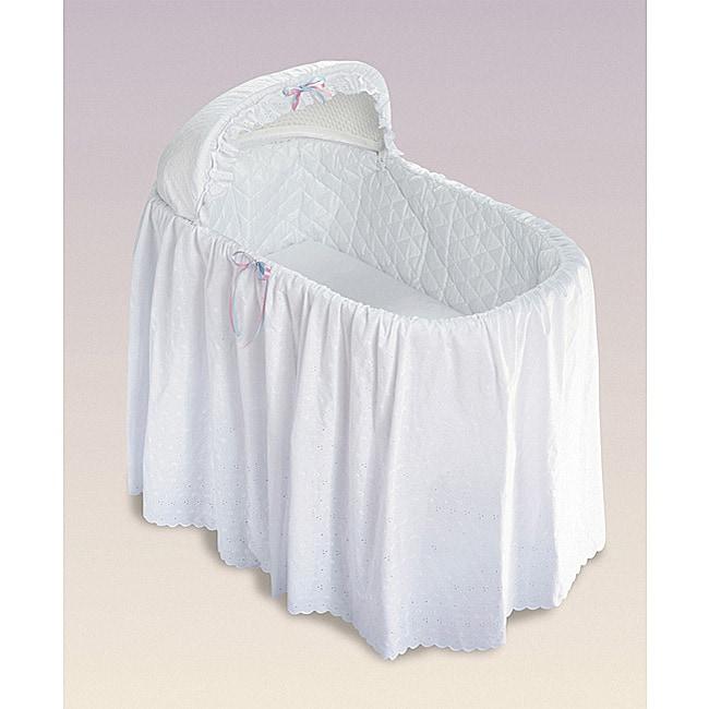 Jumbo Bassinet Long Eyelet Bedding Skirt Set Neutral