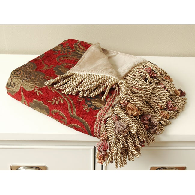 Red/ Gold Jacquard Throw