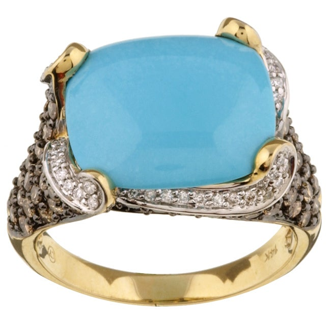 Encore by Le Vian 14k Gold Turquoise/ 1 2/5ct TDW Diamond Ring (H-I, SI2-SI3)
